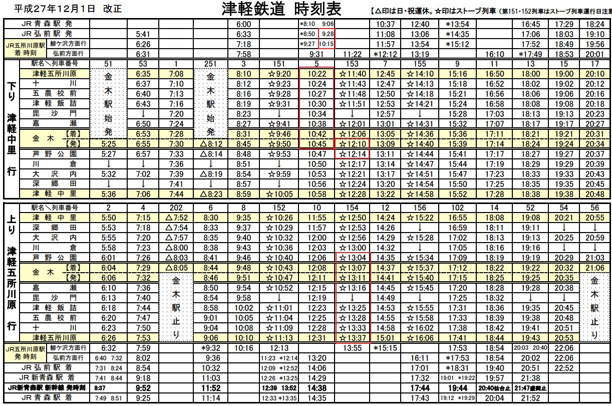 津輕鐵道冬時刻表