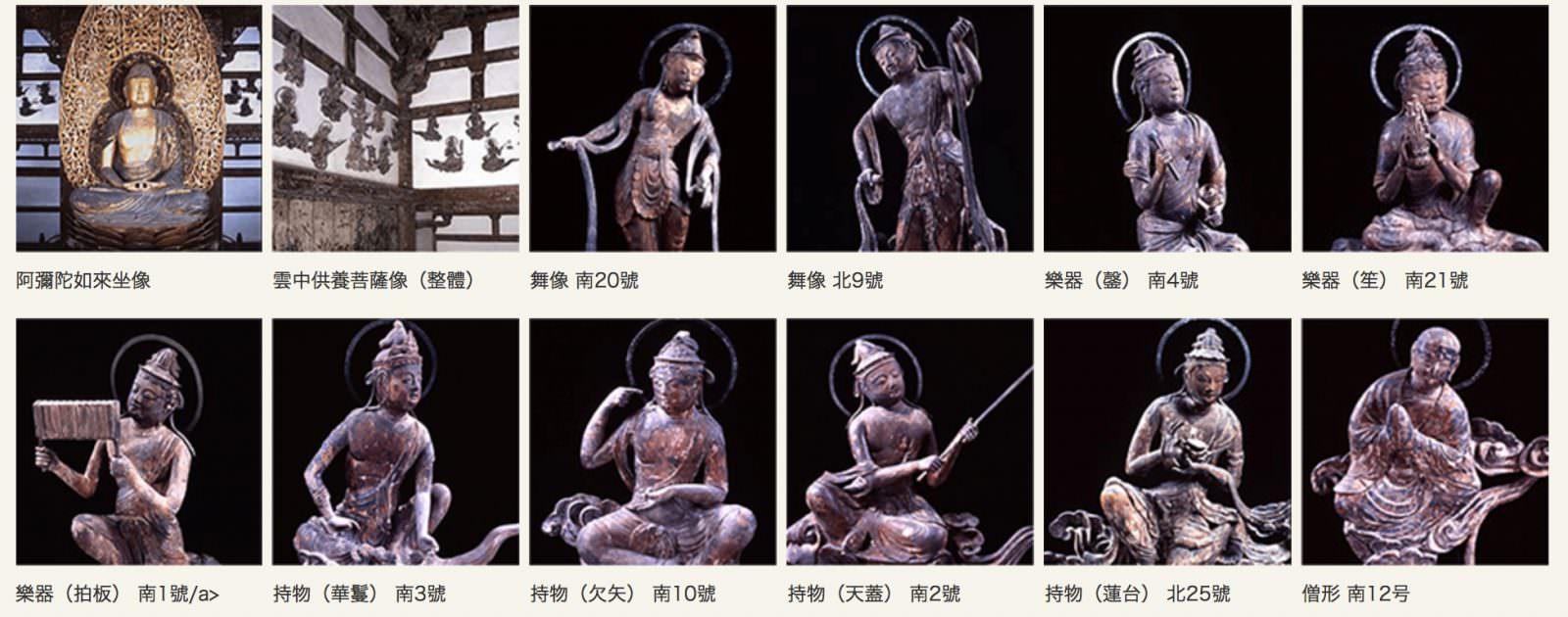 手持不同樂器的菩薩們,仙樂飄飄的九品來迎圖讓我想起輝夜姬最後的場景。圖片來源:平等院
